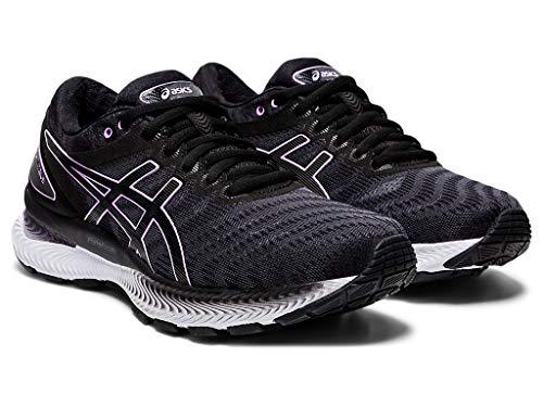 ASICS Women's Gel-Nimbus 22 Running Shoes, 5, Black/Lilac TECH