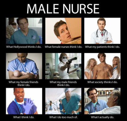 What everyone thinks about male nurses -meme