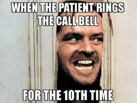 Male nurse's call bell keeps ringing