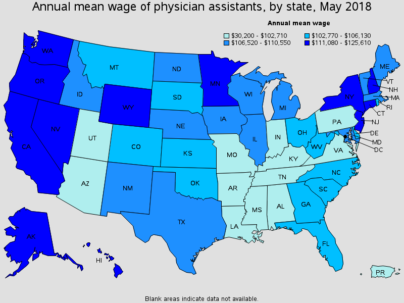 Annual mean wage of a physician assistant, by state in May 2018